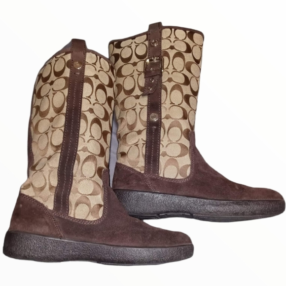 COACH Tullip winter boots size 6B brown A7746